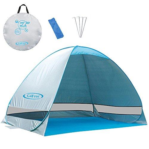 G4Free Aktualisierte Pop-Up-Zelt 2-4 Person UPF 50+ UV-Schutz Sonnenschutz Obdach Camping Wandern Fischen Picknick Strand Sommer Automatische Zelt Cabana