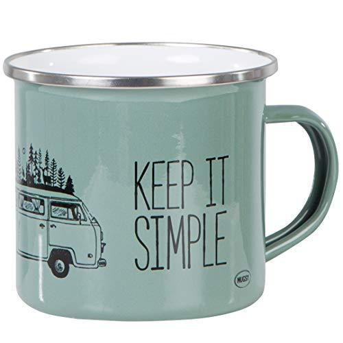 Mugsy I Emaille Tasse mit Spruch Keep it simple & Campervan Motiv, 330 ml, Emaille Becher, Camping Ausrüstung (Olivgrün)