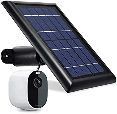 [Updated Version] Wasserstein Solar Panel with 13.1ft/4m Cable Compatible with Arlo Essential Spotlight/XL Spotlight Camera (1-Pack, Black) (NOT Compatible with Arlo Ultra, Pro 1/2/3, HD, Floodlight)