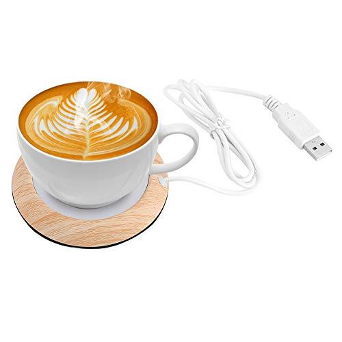 Calentador de la taza de café, USB Taza de grano de madera Calentador de la bebida Bebida de la taza Estera Té Calentador del café para el hogar de la oficina(Grano de madera brillante)