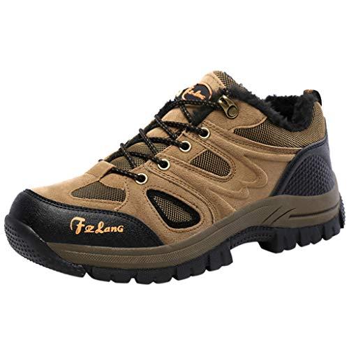 HDUFGJ Herren Trekking-& Wanderhalbschuhe Plus Samt Warm halten rutschfeste Outdoor-Schuhe Schneeschuhe Verschleißfest Freizeitschuhe Wasserdicht Laufschuhe Bequem Leichtgewicht45 EU(Braun)