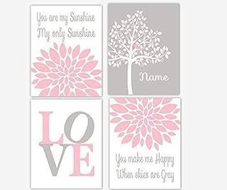 Pink Gray Baby Girl Nursery Art Flower Burst Dahlia Mums Silhouette Tree Personalize Name LOVE You Are My Sunshine Baby Nursery Decor SET OF 4 UNFRAMED PRINTS