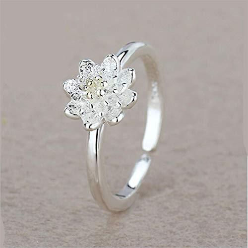 Wagrass Anillos de plata de ley 925 con flor de loto, anillos ajustables, creativos, simples, joyería de compromiso para mujer (color de metal: oro, tamaño del anillo: redimensionable)