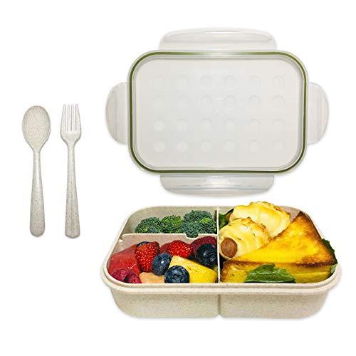 Caja Bento, ASYH 3 compartimentos Japonés Fiambrera reutilizable para almuerzo con cuchara tenedor para adultos y niños, escuela,...
