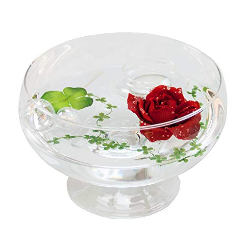 Glass Bowl Roxy ,11 H 75 CM; diameter: 17 CM, with Decorative Red Rose (Large) by Glaskönig® Komplett Angebote