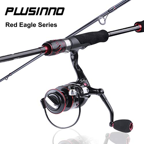 PLUSINNO Red Eagle Spinning Fishing Rod and Reel Combos, 7FT Fishing Rod, IM 6 Graphite Spinning Rod, Stainless Steel Guides with SiC Inserts, EVA Handles & Fighting Butt-C
