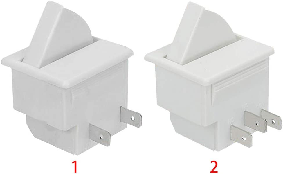 2 pins,White 2 PIN Refrigerator Door Light Switch Refrigerator Door Lamp Light Switch Replacement Fridge Part Kitchen 2.5A 250V