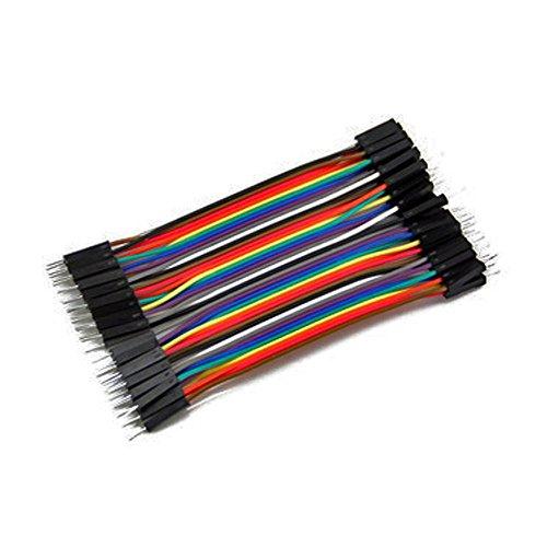 Foxnovo 40pcs 10cm 2,54 mm macho a macho de Color Dupont Jumper Cables Cables para Arduino protoboard