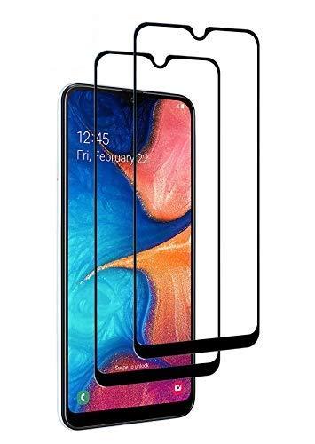 WEOFUN [2 Stück Panzerglas Schutzfolie für Samsung Galaxy A20e, volle Bedeckung, 9H Härte, Anti-Kratzen, Anti-Öl, Anti-Bläschen [3D Runde Kante] (Schwarz)