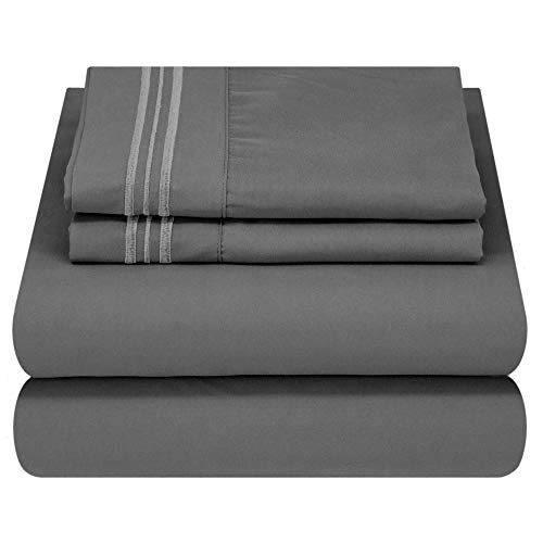 Mezzati Soft and Comfortable Waterbed Sheets Set – 1800 Prestige Brushed Microfiber Collection Bedding (Gray, Queen Attached)