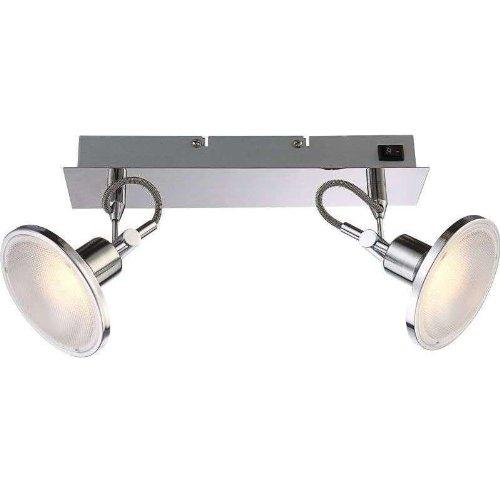 LED plafondlamp woonkamer 2 spots plafondlamp wandlamp met schakelaar (woonkamerlamp, plafondspot, 300 cm, 2 x 5 Watt, warmwit)