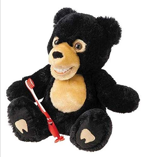 Zahnkönige | Plüschtier Puppe Bär Schwarzbär | inkl. 1 Zahnbürste | ca. 20-30cm | Zahnarzt Kinder Deko