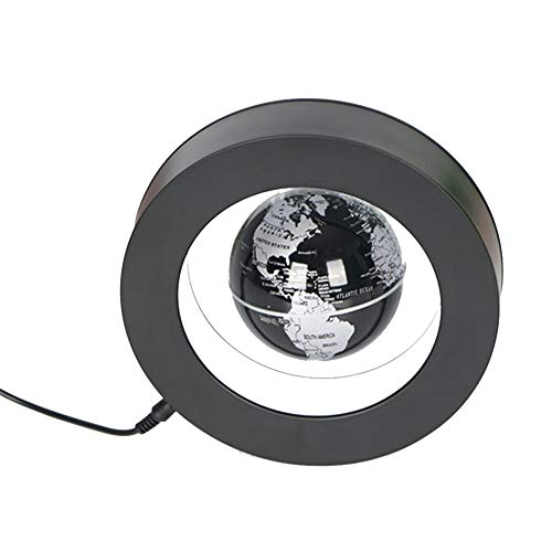 Cacoffay Platz Magnetic Levitation Globe Weltkarte White Light Ovale Basis Integrierte LED-Leuchten Wohnaccessoires Büro-Schreibtisch-Dekoration,Schwarz