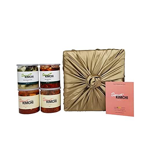 SMART KIMCHI Premium Gift Kimchi Set (24oz x 4 Leak-proof Cans) Napa Cabbage Kimchi, Radish Kimchi, Authentic Korean Kimchi Set.[Non-Gmo, No Preservatives, Probiotic]