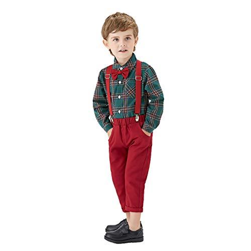 Baby Jungen Bekleidungssets Langarm Krawatte Hemd+Hose Anzug Gentleman Taufe Suits...