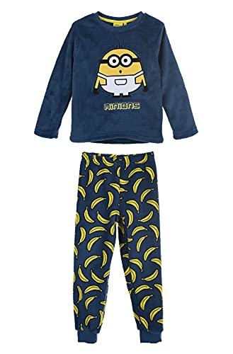Les Minions - Pijama largo polar para niño, color azul de 4 a 10 años, Negro , 6 años