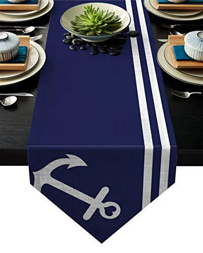 Meet 1998 - Manteles de lino y algodón, diseño de rayas náuticas para cocina, jardín, color azul marino, bodas, fiestas, cenas, interiores y exteriores, decoración del hogar, 33 x 177 cm