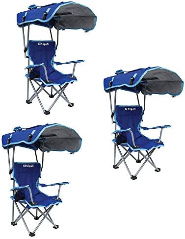Kelsyus Kids Original Canopy Folding Backpack Lounge Chair Blue 3 Pack product image