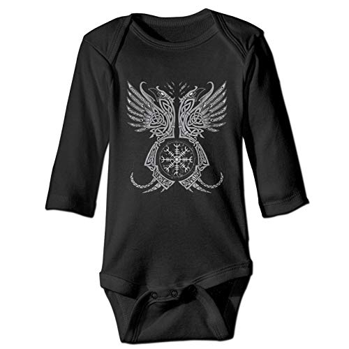 Norse God Odin Wolf and Swords Graphic in The Ring Celtic Viking Warrio Baby Crawlers Long Sleeves Bobysuits Unisex Baby Clothes Cotton Infants Pants Wear Multi-Size Boy Outfit Black
