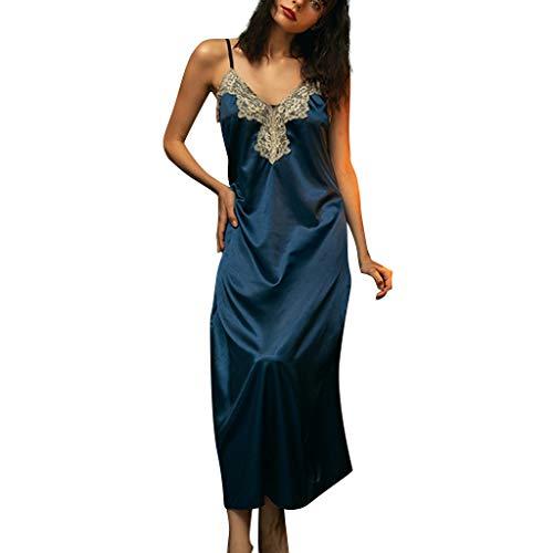 Feytuo Nachtwäsche Damen Sexy Lang Schlafanzug Nachthemd Sexy Nachtwäsche V-Ausschnitt Große Größen Bademantel Transparent Nachtkleid Ouvert