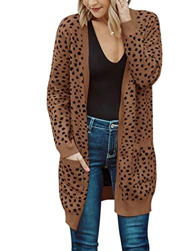 MEROKEETY Women's Open Front Knit Cardigan Winter Fall Sweater Dots Long Sleeve Pockets Coat Outwear, Brown, XL