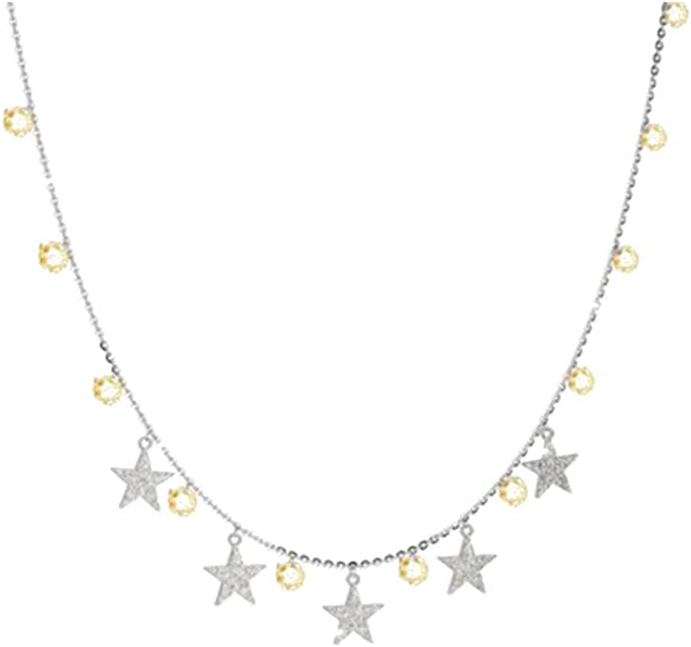 Rebecca collana donna in argento 925 con pietre gialle stelle SLCKBC20