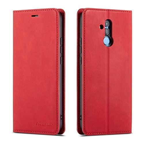 QLTYPRI Hülle für Huawei Mate 20 Lite, Premium Dünne Ledertasche Handyhülle mit Kartenfach Ständer Flip Schutzhülle Kompatibel mit Huawei Mate 20 Lite - Rot