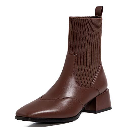 Bota Media para Mujer, Zapatos De Tacón Bajo Gruesos con Punta Cuadrada, Botas Elásticas Delgadas con Piernas Envueltas,Marrón,36