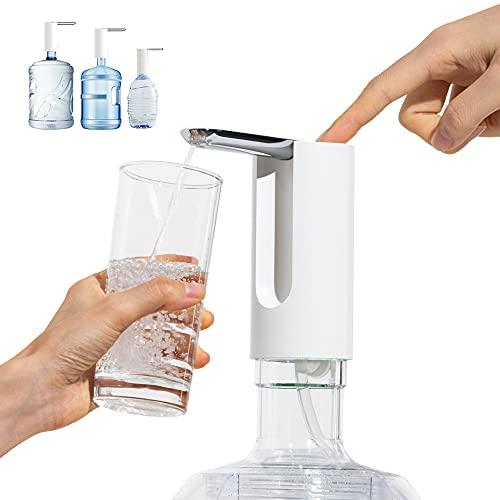 J JINPEI Botellas dispensador de agua, bomba de agua potable automática eléctrica plegable con pieza de manguera de silicona para el hogar, oficina, camping, barbacoa, exterior e interior