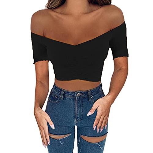 ZhiWanTing Blusa de fiesta para mujer, con hombros descubiertos, para fiesta Black 872-Short Sleeve L