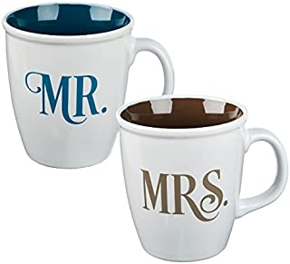 Christian Art Gifts Ceramic Coffee/Tea Mug Set for Couples | Mr. and Mrs. His and Hers Design Bible Verse Mug Set | Boxed Set/2 Coffee Cups