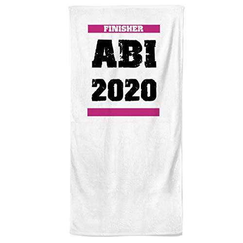 Power Towel ABI 2020 Finisher - Farbe Weiss   Fitness & Sport-Handtuch mit Einer Botschaft  Verschiedene Motivations-Quotes  Größe 70 cm x 140 cm   POWERTOWEL aus Mikrofaser & Baumwolle
