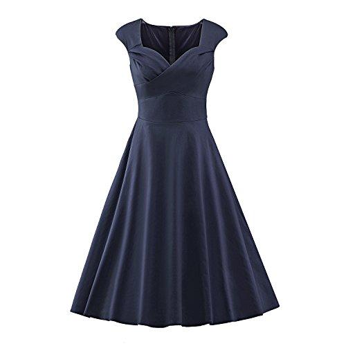 LUOUSE Damen Audrey Hepburn 50s Retro Vintage Bubble Skirt Rockabilly Swing Evening Kleider,NavyBlue,XXL