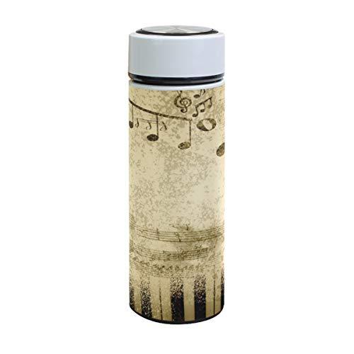 XiangHeFu reisbeker muziek notities op oud papier waterfles thermoskan 17oz houden koud of warm lekvrij sport verjaardag