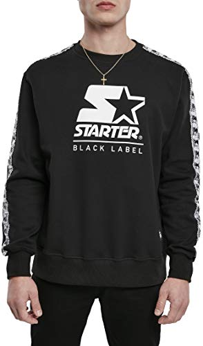 STARTER BLACK LABEL Mens Starter Logo Taped Crewneck Pullover Sweater, M