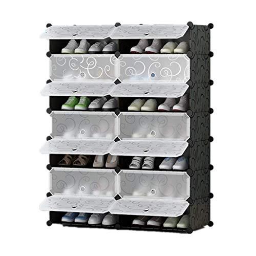 PIVFEDQX Zapatero para Muebles, Zapatero para Bricolaje, Organizador de Cubos de Almacenamiento versátil Gabinete de plástico con Puertas, Blanco y Negro Rizado Fácil de Montar (Tamaño: 7 Niveles)