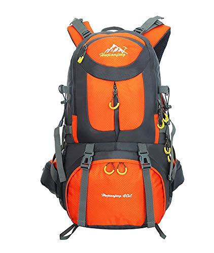 Mochilas de Senderismo al Aire Libre - Mochila de Senderismo Impermeable Macutos Ergonómica Viajes Excursiones Acampadas Trekking, Naranja, 50L