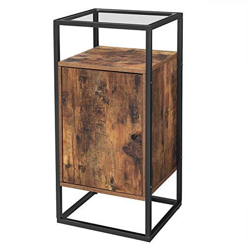 VASAGLE Beistellschrank, Nachtschrank mit Glasoberfläche, Beistelltisch, Badezimmerschrank, Nachttisch, Wohnzimmer, stabiles Stahlgestell, Hartglas, Industrie-Design, vintagebraun-schwarz LSC10BX