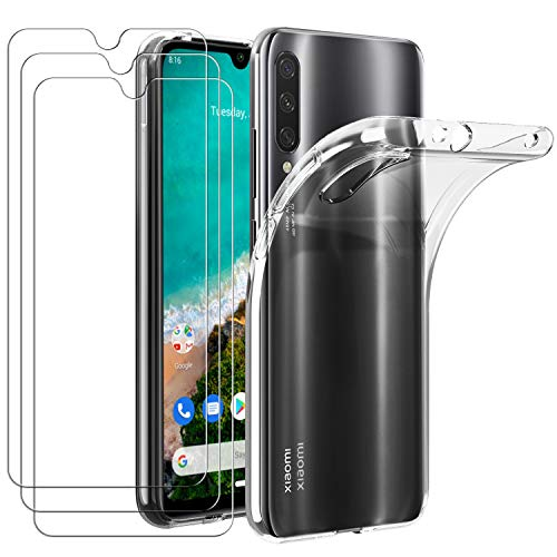 ivoler Coque pour Xiaomi Mi A3, avec Lot de 3 Protection Écran en Verre Trempé, Transparent Étui de Protection en Silicone Antichoc, Mince Souple TPU Bumper Housse