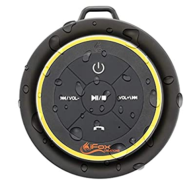 iFox iF012 Bluetooth Shower Speaker - Certified Waterproof. Wireless, Portable Speaker w/ Suction Cup and Pairs Easily With All Bluetooth Devices - iPhone, iPad, iPod, PC from iFox Creations