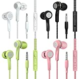 SIKAMARU Earphones Headphone Heavy Bass Stereo Earbuds with Remote & Microphon,Laptops,Gaming Noise Isolating Tangle Free Headsets in Ear Headphones 4 Pairs
