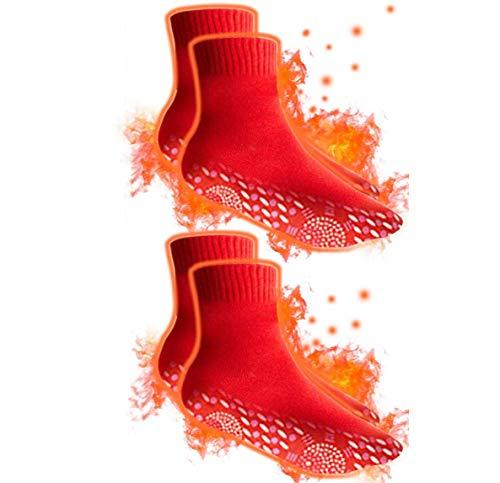QYWSJ Chaussettes Chauffantes à Tourmaline, Chauffantes Auto-Chauffantes pour Hommes Et Femmes, Chauffe-Semelles, Chaussures Plus Chauds, Chaussettes Sport Confortables d'hiver, 2 Paires