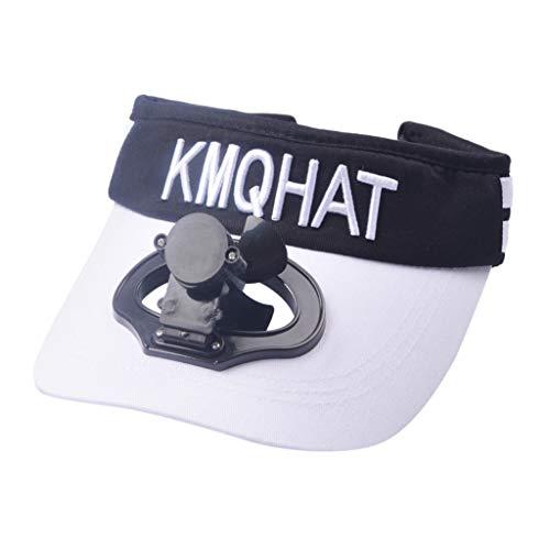 Qiamay Baseball Cap mit Lüfter USB Lade Ventilator Unisex Schirmmütze Camping Golf Cap(Weiß,One Size)