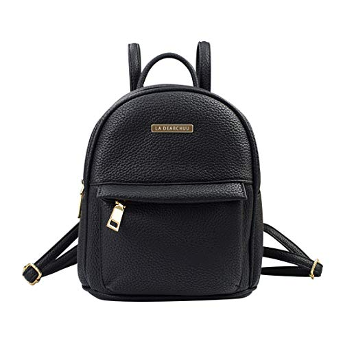 La Dearchuu Mini Rucksack Damen Leder Klein Rucksack, Mini Rucksack Daypack mit Kopfhörerloch Kleiner Tagesrucksack für Frauen, Mädchen Teen, Litschi Muster Schwarz