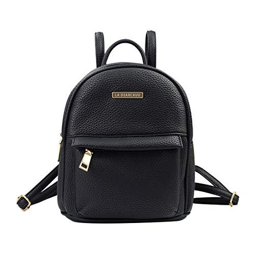 La Dearchuu Small Backpack for Women Pu Leather Mini Backpack Purse, Fashion Mini Daypack Backpack Rucksack Teen Girls w/USB Charging Port, Litchee Pattern Black
