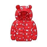 K-Youth Ropa Niño Invierno Abrigo con Capucha de Oreja de Dibujos Animados Engrosamiento Caliente Abrigo de Algodón Niños Chaqueta Bebe Niña Recien Nacido Chaquetas Niñas Parka (Rojo, 2-3 años)