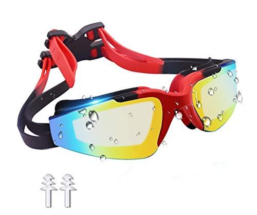 ZealBea Focus スイミングゴーグル ZealBea Focus スイムゴーグル ミラーゴーグル くもり止め 柔らかいシリコーンクッション付き 紫外線カット ベルト調節可 ゴーグルケース付き 耳栓付き 男女兼用 フリーサイズ [5775]
