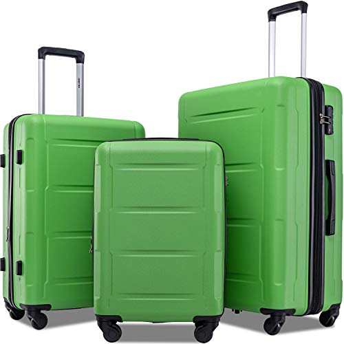 Merax Luggage Set with TSA Lock, All Expandable 3 Piece Hardshell Lightweight Suitcase Set 20inch 24inch 28inch (Green)