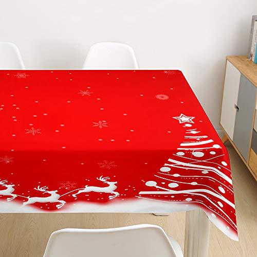 Morbuy Manteles Navideño Manteles de Mesa Impermeable Antimanchas Rectangular Lavable Manteles de Poliéster para Cocina Comedor Decoración del Hogar (Trineo de Navidad,140x260cm)