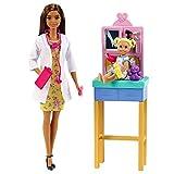 Barbie Métiers coffret poupée Docteure brune, figurine petite patiente et son ours en peluche, accessoires inclus, jouet pour enfant, GTN52